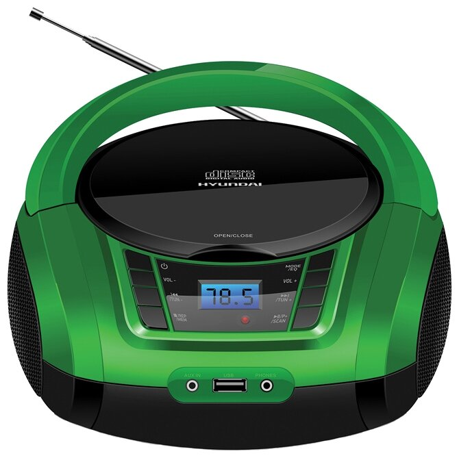 Магнитола Hyundai H-PCD320/H-PCD340/H-PCD360 черный/зеленый