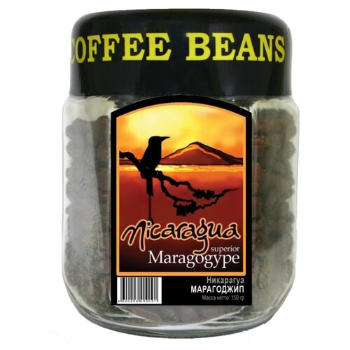 цена на Кофе в зернах Блюз Никарагуа Марагоджип, стеклянная банка, арабика, 150 г