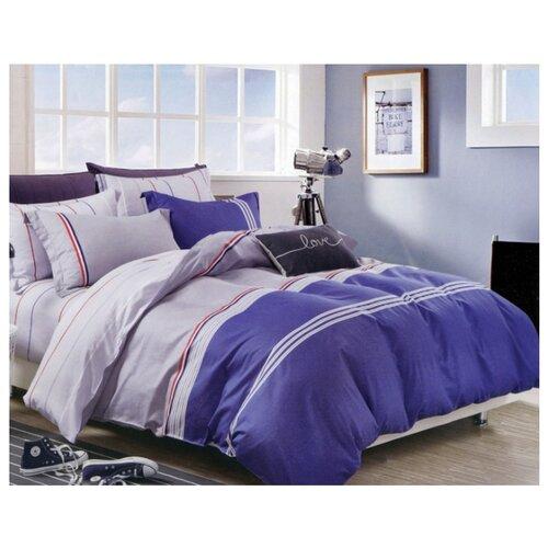 Постельное белье 1.5-спальное Sulyan Оксфорд сатин, 70 х 70 см серый / синий