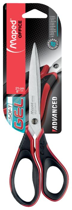 Ножницы Advanced Gel, прорезиненные ручки, асимметричные, 21 см