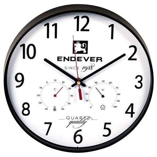 Часы настенные кварцевые ENDEVER RealTime-113 черный / белыйЧасы настенные<br>