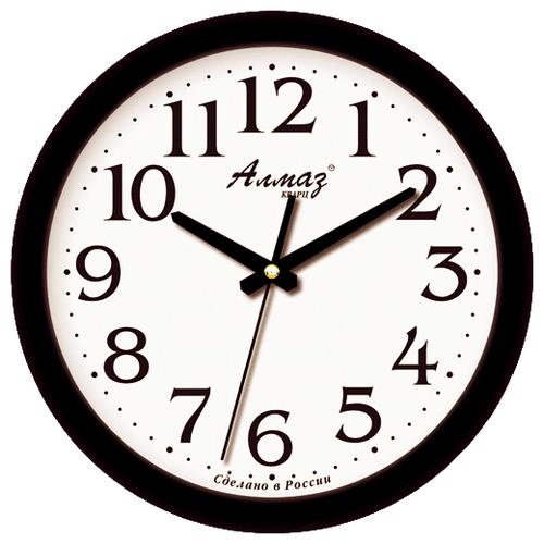 Часы настенные кварцевые Алмаз E01 черный/белый часы настенные кварцевые алмаз h01 белый черный