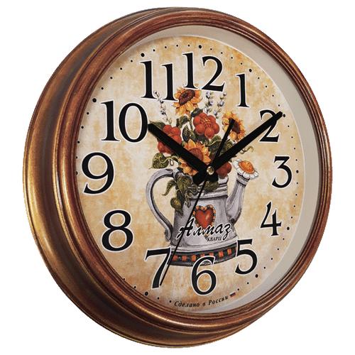 Фото - Часы настенные кварцевые Алмаз A61 бордовый/бежевый a61