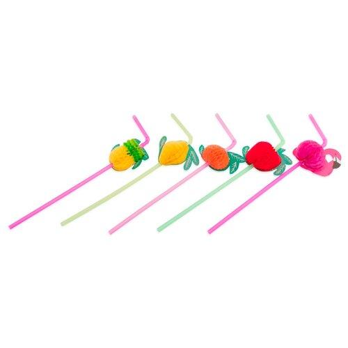 Paterra Трубочки для напитков одноразовые пластиковые Фрукты (12 шт.) разноцветные