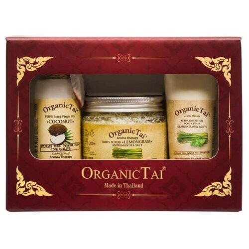 Набор Organic TAI скраб для тела Лемонграсс 200 г, масло Кокоса 120 мл, крем для ног Лемонграсс и мята 60 мл organic shop крем масло для ног барбадосский spa педикюр 75 мл