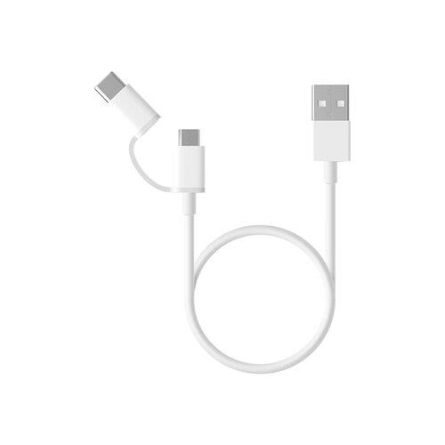 Кабель Xiaomi USB - microUSB / USB Type-C 0.3 м белый кабель usb type c microusb a data acm32in1 100cmk cbk 1 м