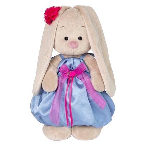Мягкая игрушка Зайка Ми в синем платье с розовым бантиком 25 см мягкая игрушка зайка ми в платье в стиле кантри 25 см