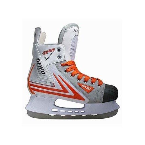 Хоккейные коньки Action PW-217 белый/серый р. 40