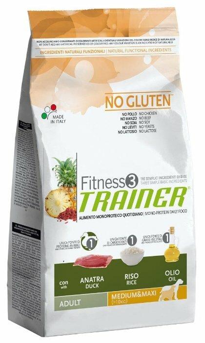 Корм для собак TRAINER Fitness3 No Gluten Adult Medium&Maxi Duck and rice dry