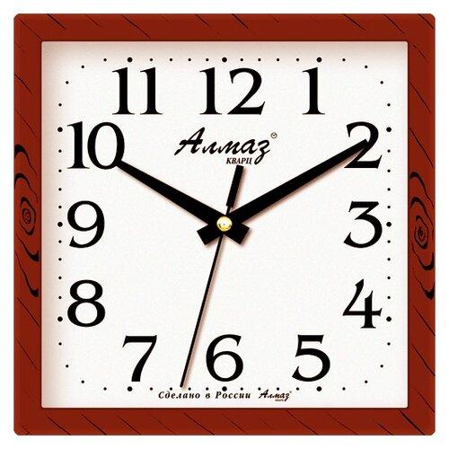 Фото - Часы настенные кварцевые Алмаз M03/M05 коричневый / белый часы настенные кварцевые алмаз a87 коричневый белый