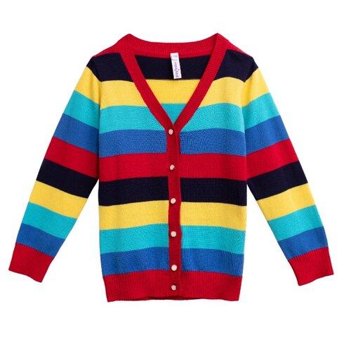 Кардиган playToday размер 116, красный/голубой/желтыйСвитеры и кардиганы<br>
