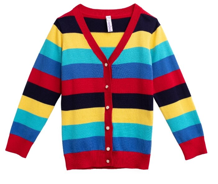 Кардиган playToday размер 110, красный/голубой/желтый