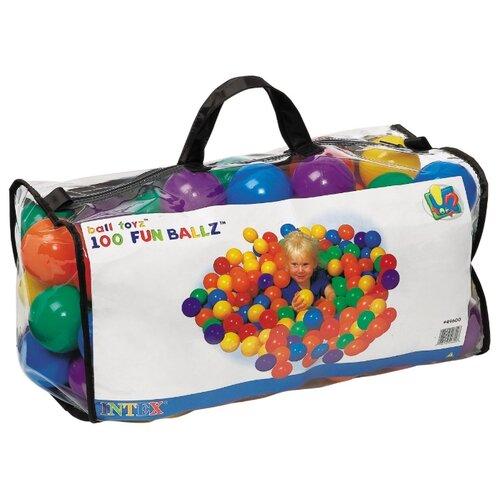 Шарики для сухих бассейнов Intex 100 штук, 8 см (49600) желтый/зеленый/красный/синий/фиолетовый/оранжевый
