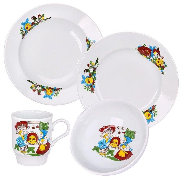 Набор для завтрака Дулёвский фарфор Веселый Колобок 4 предмета 023972