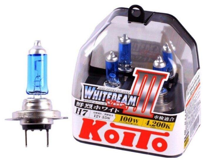 Лампа автомобильная галогенная KOITO Whitebeam III H7 P0755W 4200K 12V 55W (100W) 2 шт.