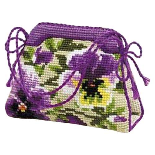 Купить Риолис Набор для вышивания крестом Игольница-сумочка Анютины глазки 11 х 8 см (1039), Наборы для вышивания