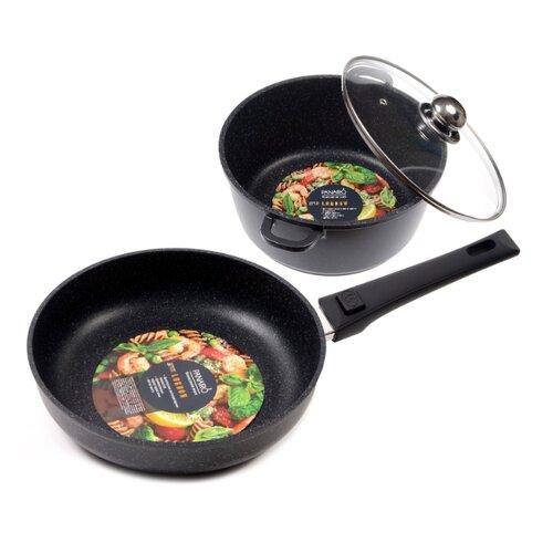 Набор посуды Panairo Lordom №1 4 пр. черный гранитНаборы посуды для готовки<br>