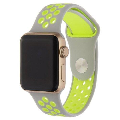 INTERSTEP Ремешок ACTION для Apple Watch 38/40 мм, силикон серый/зеленый