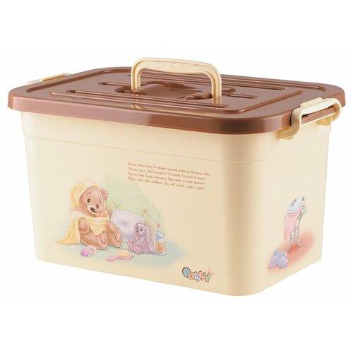 Контейнер ПОЛИМЕРБЫТ Polly 10 л 35.5х23.5х19 см бежевый контейнер для детской аптечки полимербыт polly с вкладышем 6 5 л