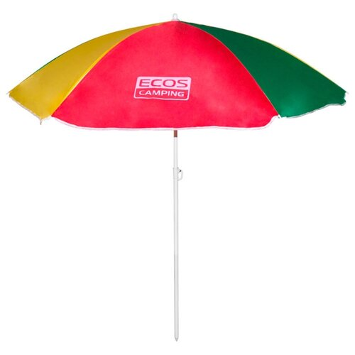 Пляжный зонт ECOS BU-04 купол 160 см, высота 145 см красный/зеленый/желтыйЗонты от солнца<br>