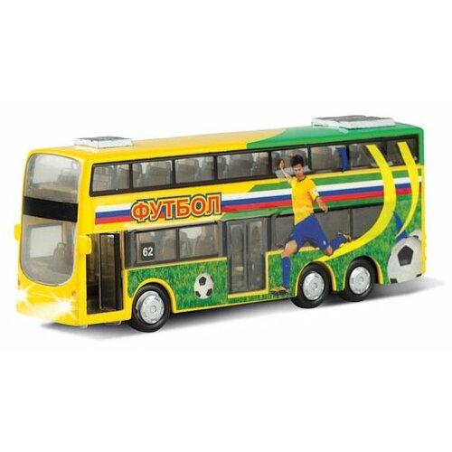 Автобус ТЕХНОПАРК двухэтажный Футбол (CT10-054-6) 16 см зеленый/желтый значок зеленый футбол