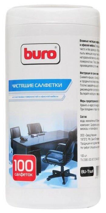 Салфетка Buro BU-Tsurl 100 шт. для пластиковых поверхностей и офисной мебели туба 100шт влажных