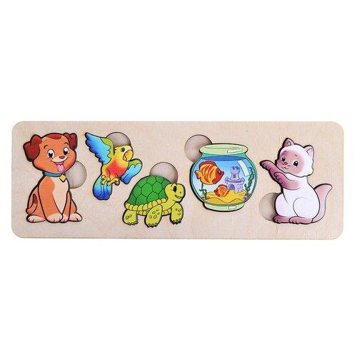 Рамка-вкладыш Нескучные игры Домашние животные (7996), 5 дет. рамка вкладыш нескучные игры больше меньше геометрия