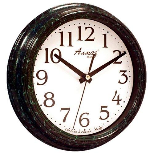 Часы настенные кварцевые Алмаз C04-C10 изумрудный/белый часы настенные кварцевые алмаз c04 c10 бежевый с рисунком белый