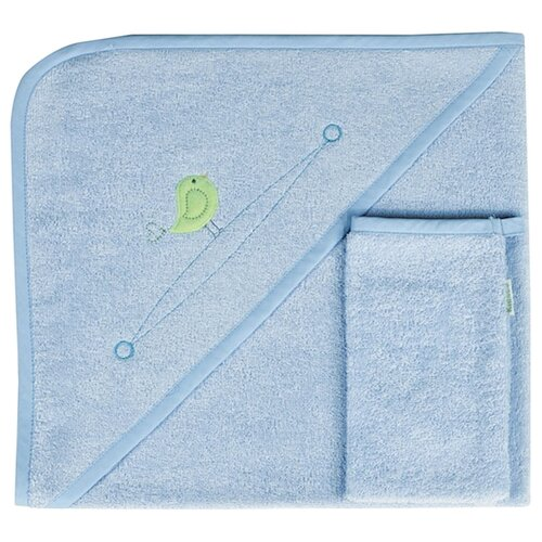 Kidboo Комплект полотенце-уголок+варежка Happy Happy банное 75х75 см голубой полотенце банное ecotex авеню голубой серый