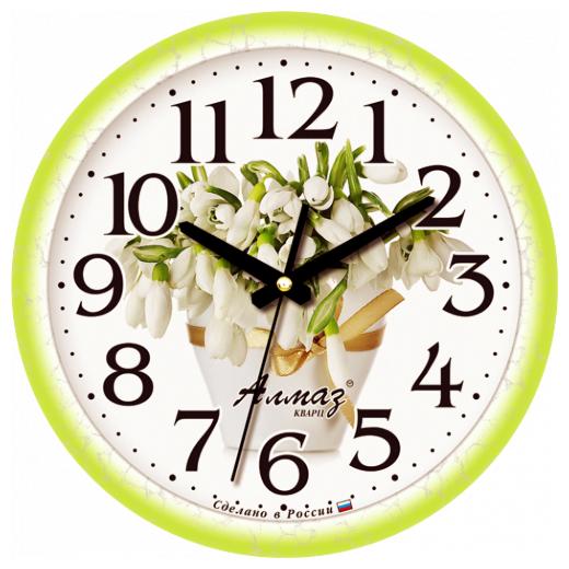 Часы настенные кварцевые Алмаз B07 белый/зеленый