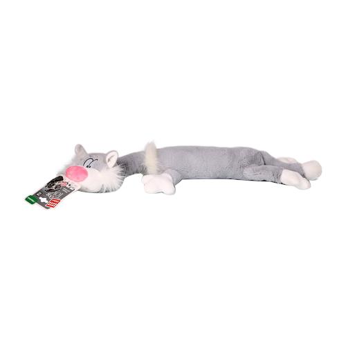 Игрушка для собак GiGwi Dog Toys Кот (75227) серый/белый игрушка gigwi dog toys squeaker кот с большой пищалкой для собак 75227
