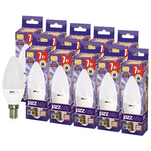 Упаковка светодиодных ламп 10 шт jazzway E27, C37, 7Вт