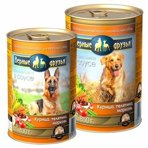 Корм для собак Верные друзья Кусочки в соусе - Курица, телятина, морковь (0.4 кг) 1 шт.