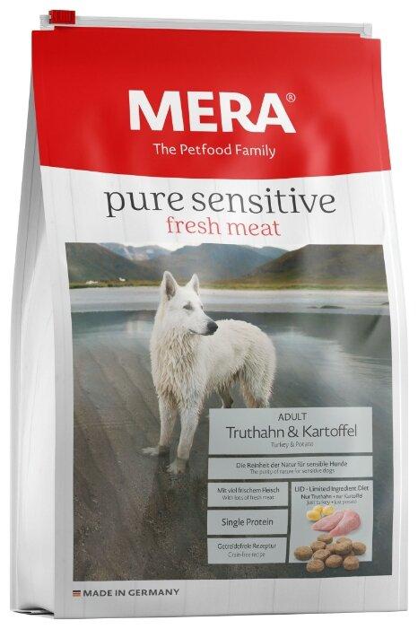 Корм для собак Mera (4 кг) Pure Sensitive Fresh Meat с индейкой и картофелем для взрослых собак