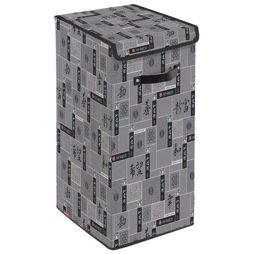 цена на Valiant Корзина для белья с крышкой Japanese Black JB-BOX-LXL 60х35х35 см черный/серый