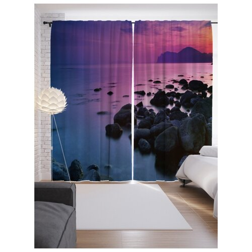 цена Фотошторы JoyArty Морская тишина на ленте 265 см фиолетовый/синий/серый онлайн в 2017 году