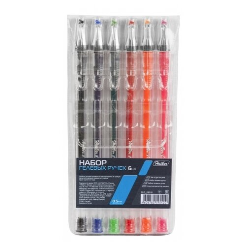 Купить Hatber набор гелевых ручек 0.5 мм, 6 цветов (5CG_06010), Ручки