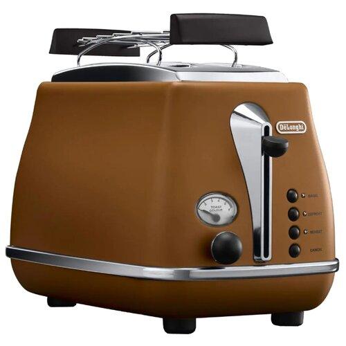 Тостер De'Longhi CTOV 2103.BW Icona Vintag, коричневый тостер de longhi ctoe 2103 bl icona elements синий