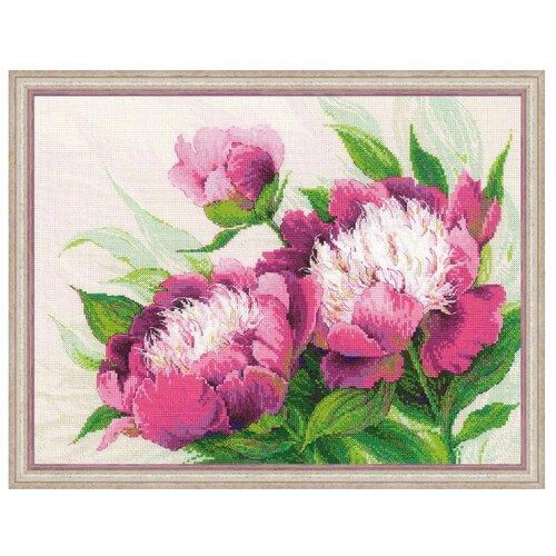 Купить Риолис Набор для вышивания Premium Розовые пионы 40 х 30 см (100/039), Наборы для вышивания