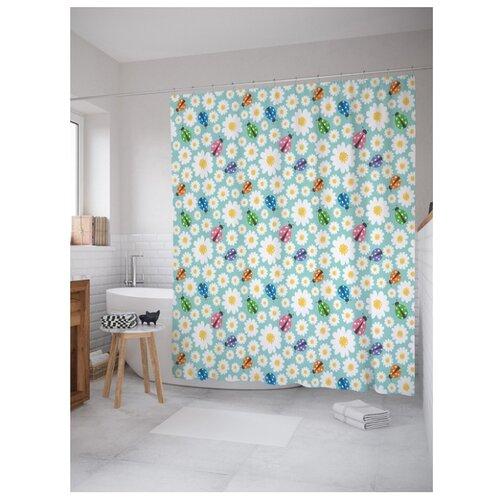 Штора для ванной JoyArty Узор с божьими коровками и цветами 180x200 белый/голубой