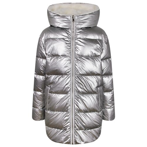 Купить Пуховик Yves Salomon размер 140, серебристый/белый, Куртки и пуховики