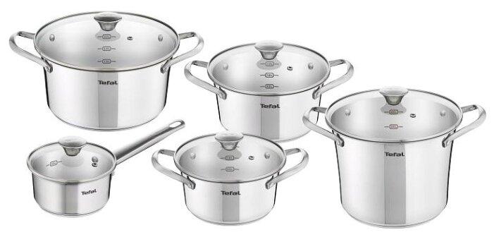 Набор посуды для приготовления пищи Tefal Simpleo, B907SA74, серебристый, 10 предметов