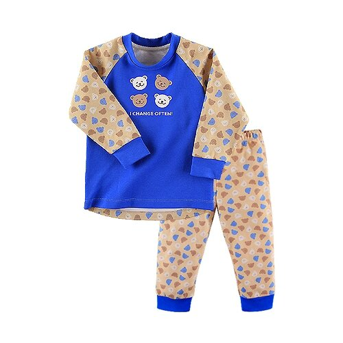 Пижама Наша мама размер 98, синий/бежевый