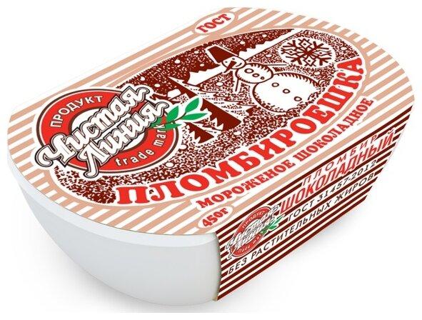 Мороженое пломбир Чистая линия Пломбироешка шоколад 450 г, 450 г.
