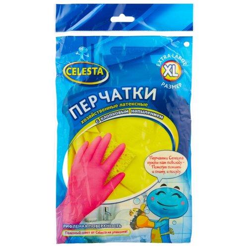 Перчатки Celesta хозяйственные с хлопковым напылением, 1 пара, размер XL, цвет желтый