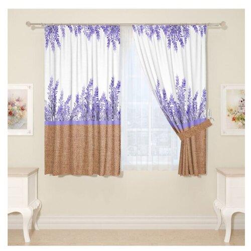 Комплект Сирень Милая лаванда на ленте 160 см белый/фиолетовый/коричневый