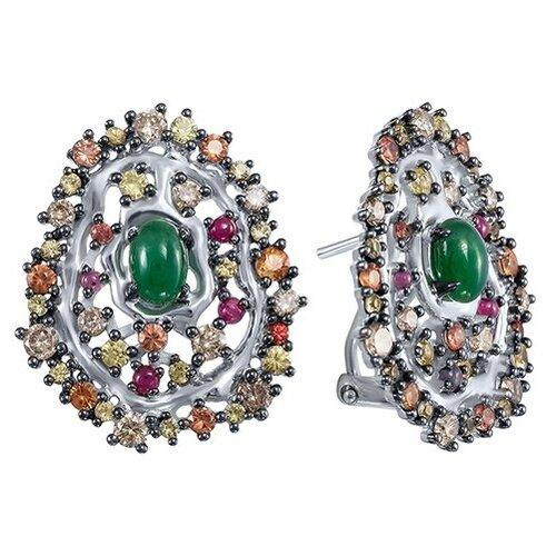 JV Золотые серьги с сапфиром, бриллиантами, изумрудом, рубином ME32125-BR-BS-RU-EM-DN-EM-OS-RU-YS-WG