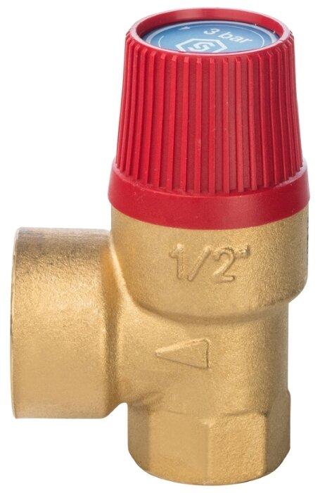 Предохранительный клапан STOUT SVS-0001-003015 муфтовый (ВР/ВР), латунь, 3 бар, Ду 15 (1/2