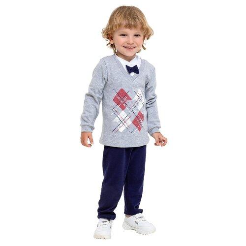 Купить Комплект одежды Веселый Малыш размер 98, серый меланж/синий, Комплекты и форма