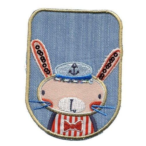 Термоаппликация HKM Textil Кролик-моряк 10.5х6 см синий/бежевый салфетка protec textil lino 30 43 см бежевый